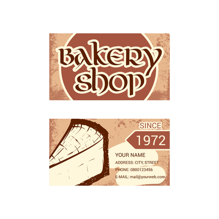 Business card for bakery shop. Hand drawn sketch. Vector illustration isolated on a white background.