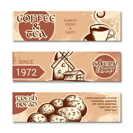 Set of horizontal banner for bakery shop. Hand drawn sketch. Vector illustration isolated on a white background.