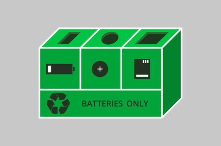 Trash box for recycling battery icon.