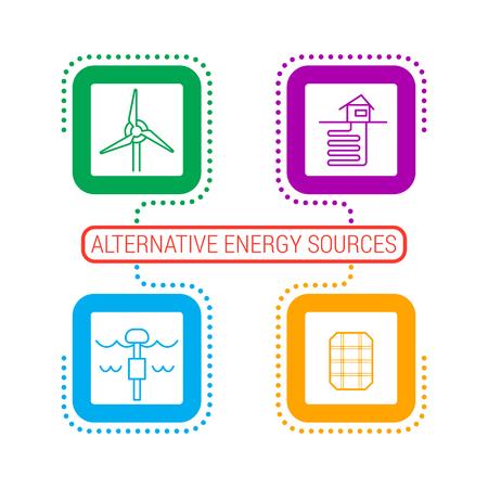 Alternative energy sources diagram template. 向量圖像
