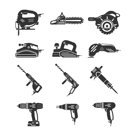 Set of electric and gasoline tools icon.