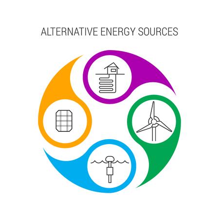 Alternative energy sources infographics icon. 向量圖像