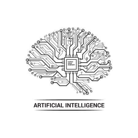 Artificial brain icon. 向量圖像