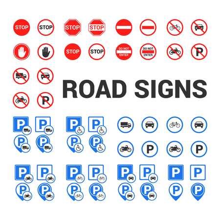 Road and parking signs icon.