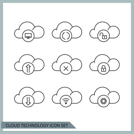 Set of cloud technologies icon.
