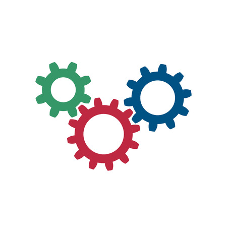 Set of three simple gears icon.