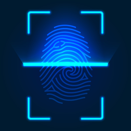 Futuristic fingerprint scanner. Vector color illustration isolated on a blue  background.