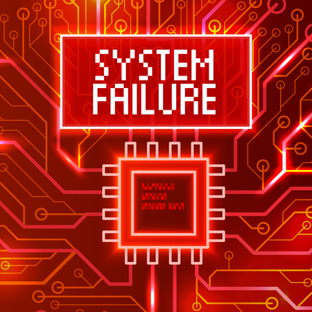 System failure abstract technology background. Vector color illustration isolated on a red background. Illusztráció