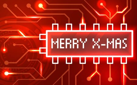 Merry christmas card on a background of abstract technology. Vector color illustration isolated on a red background.