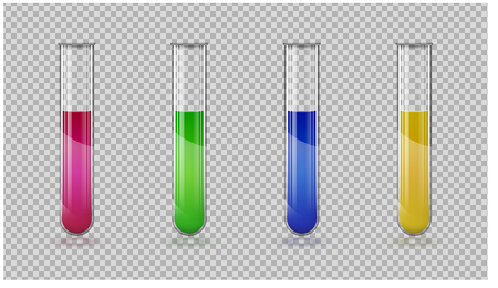 Set of test tube. Vector color illustration isolated on a transparent background.