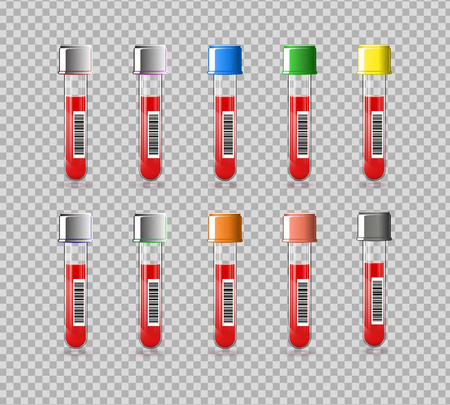 Set of vacutainer test tube. Vector color illustration on a transparent background.