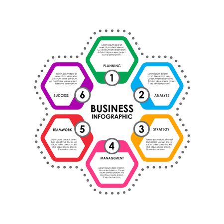 editorial: Diagram for business. Infografic process template. Vector illustration isolated on a gray background.