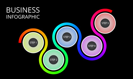 infigraphic for business. Infografic process template. Vector illustration isolated on a black background.