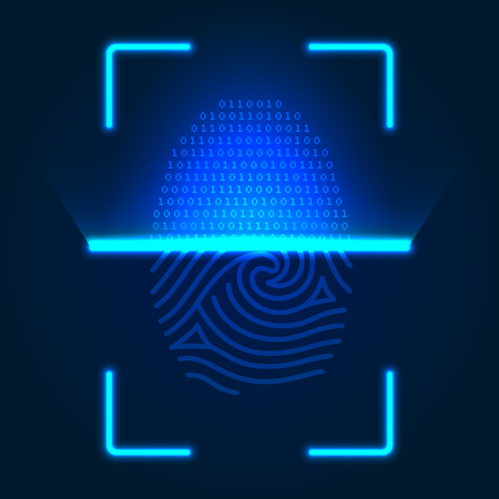Futuristic fingerprint scanner. Vector color illustration on a blue 