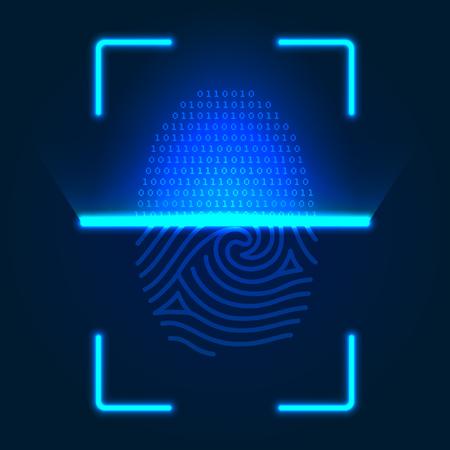 Futuristic fingerprint scanner. Vector color illustration on a blue background.