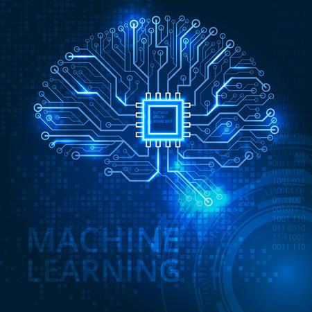 デジタル抽象的な技術背景に人間の脳。2 d ベクトル カラー イラスト。  イラスト・ベクター素材