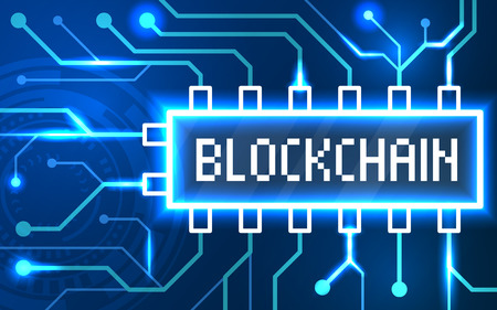 Blockchain abstract technology background. Vector color illustration isolated on a red background. 일러스트