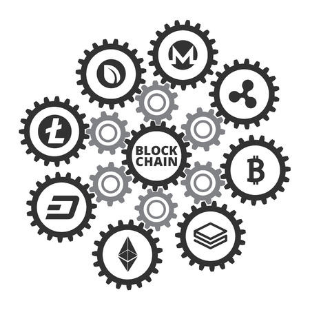 Blockchain infographic. Vector illustration isolated on a white background.