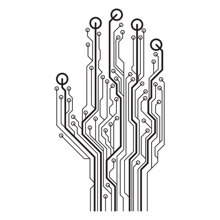 Hand circuit board. Vector illustration isolated on a white background.
