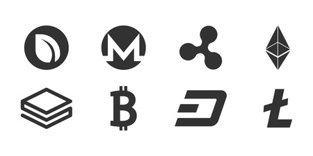 Set of cryptocurrency icon.  Vector illustration isolated on a white background.