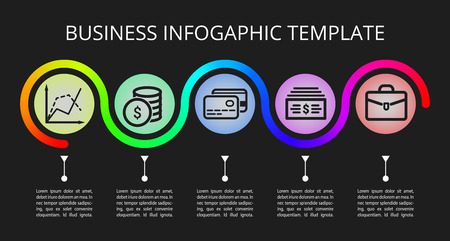 infographic for business. Infografic process template. Vector illustration isolated on a black background. Illusztráció