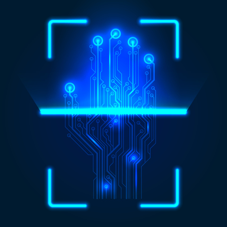 Hand circuit board scanner. Vector illustration on a blue background. Ilustrace