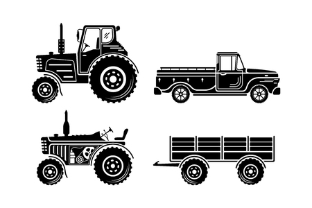 Set of agricultural transport icon. Vector illustration isolated on a white background.