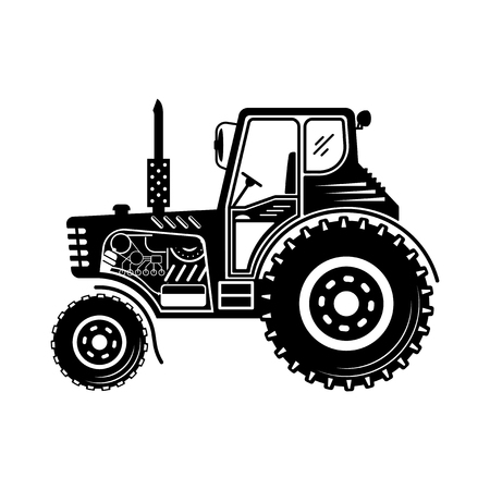 Black tractor icon. Vector illustration isolated on a white background.