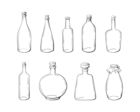 Sketch bottles. Vector illustration isolated on a white background.