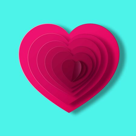 Red heart on cyan background in paper style