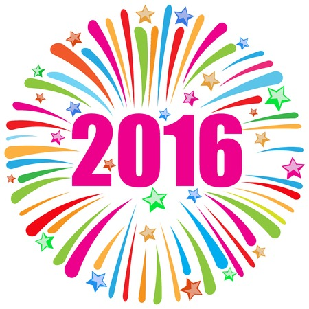 fireworks on white background: happy new year 2016 white Illustration