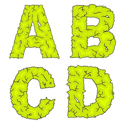 haloween: halloween grimy letters abcd Illustration