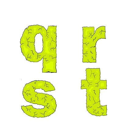 grimy: halloween grimy letters small letters qrst