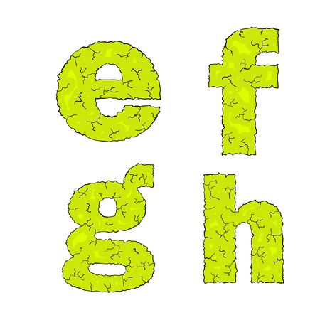grimy: halloween grimy letters small letters efgh Illustration