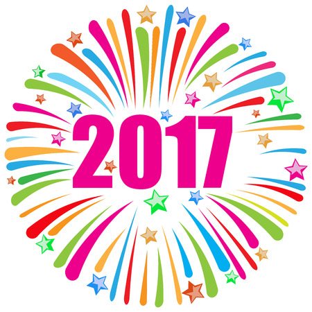 new year card: happy new year 2017 greeting card