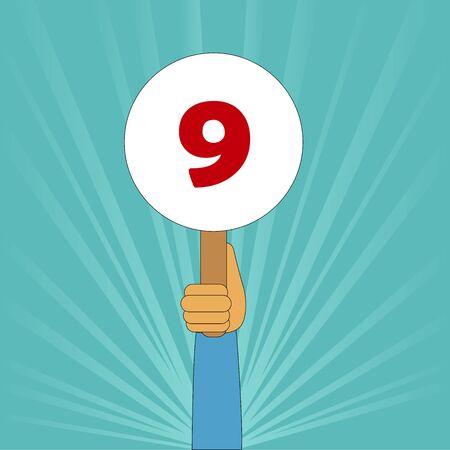 punteggio perfetto 9 Vettoriali