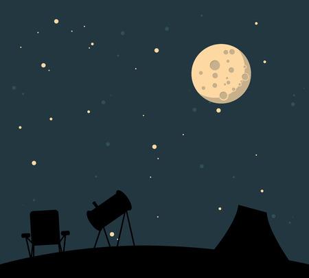 night: watching night sky Illustration