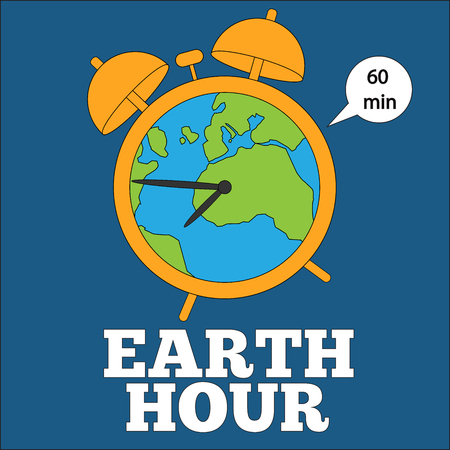 earth hour banner with the alarm clock