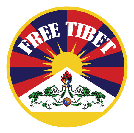 tibetan flag banner with sign free tibet Illustration