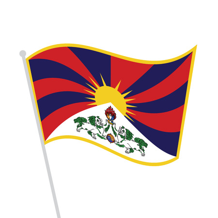 waved tibetan flag 2 Illustration
