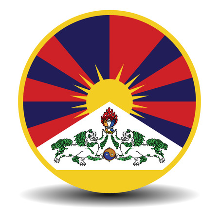 tibetan flag banner with shadow