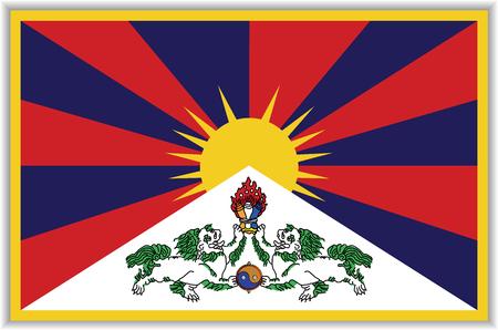 tibetan flag with shadow Illustration