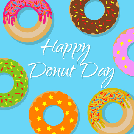 Feliz día donut banner Foto de archivo - 77032070