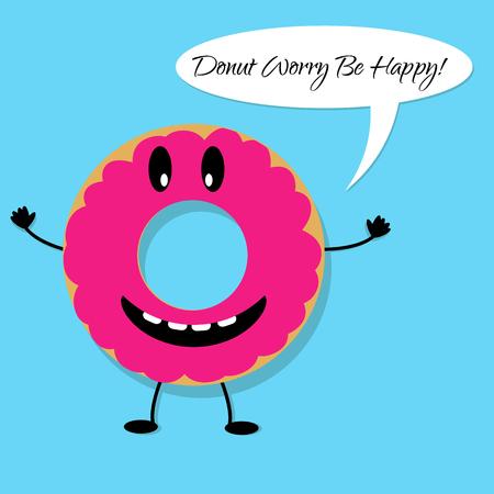 Happy donut day banner con el personaje donut Foto de archivo - 77032071