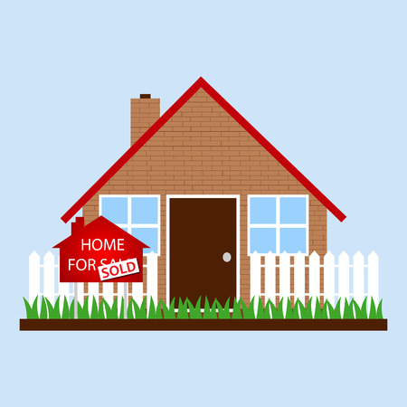 front or back yard: A house with sign home for sale - sold
