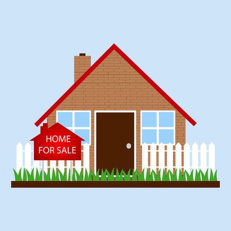 front or back yard: A house with sign home for sale Illustration