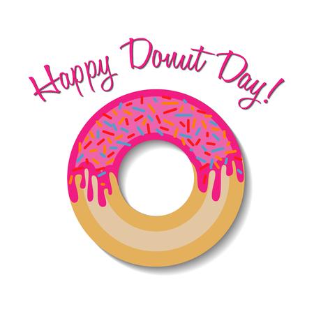 Feliz día donut banner Foto de archivo - 77073809