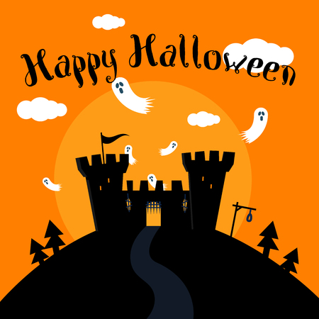 Halloween greeting card with hunted castle