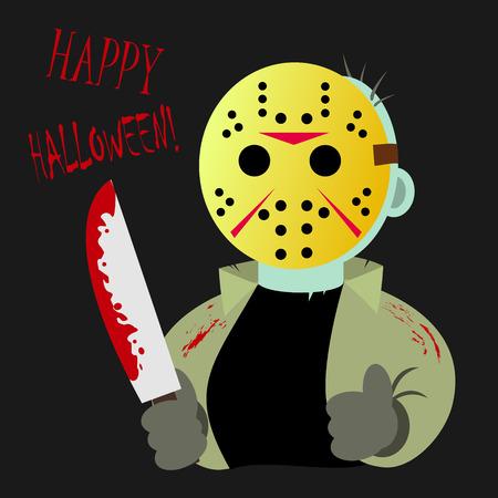 happy halloween greeting card with serial killer Ilustracja