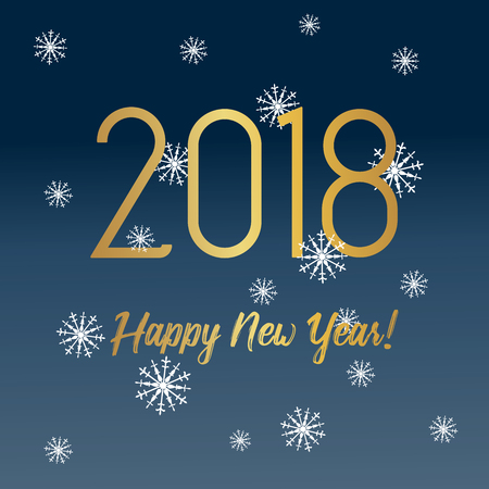Happy New Year 2018 greeting card with golden text